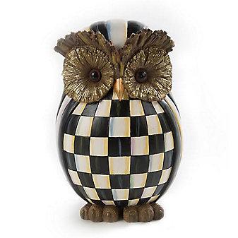 mackenzie-childs courtly check owl figurine