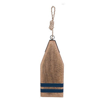 beachcombers coastal life wood buoy board with blue accent
