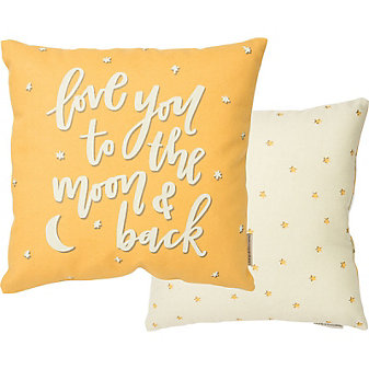 primitives by kathy to the moon and back pillow - yellow