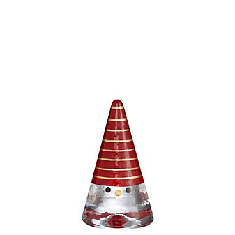 Kosta Boda Small Tomte Sculpture, Red & Gold Thin Stripes