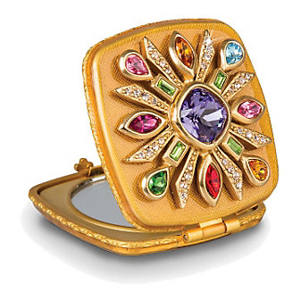 Jay Strongwater Schuyler Maltese Bejeweled Compact