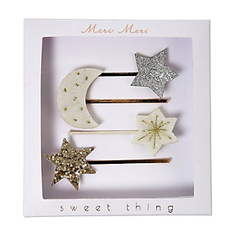 meri meri moon & star slide hair clips