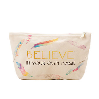 GRATITUDE BELIEVE IN YOUR OWN MAGIC MEDIUM ZIP POUCH