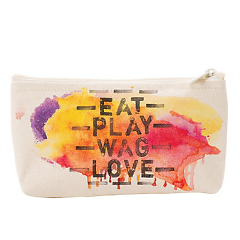 GRATITUDE EAT PLAY WAG LOVE SMALL ZIP POUCH