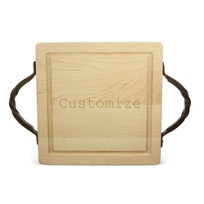 "Maple_Leaf_at_Home_12""_Square_Cutting_Board_With_Handles,_Custom"