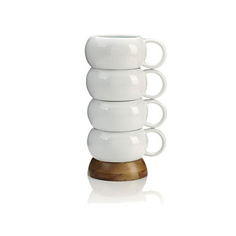 Nambe Bulbo Ceramic Mug Stack, Set of 4