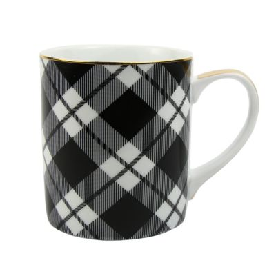 8 oak lane black plaid ceramic mug