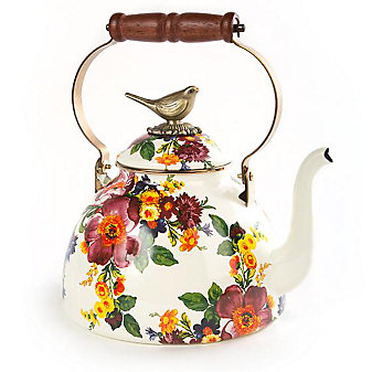 mackenzie-childs flower market 3 quart tea kettle with bird
