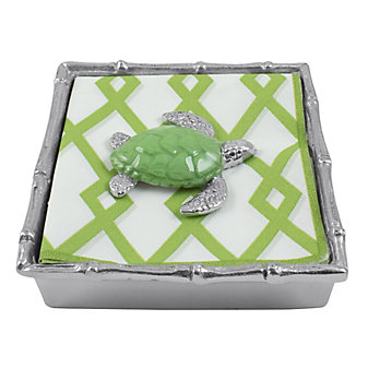 Mariposa Green Turtle Bamboo Napkin Box