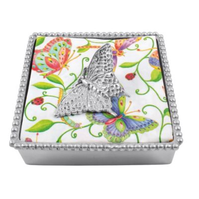 Mariposa Butterfly Beaded Napkin Box