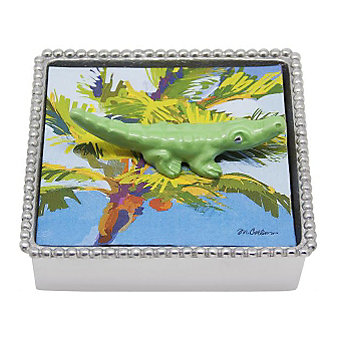 Mariposa Alligator Napkin Box, Green