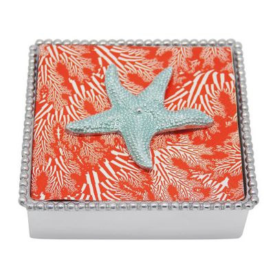 Mariposa Starfish Beaded Napkin Box