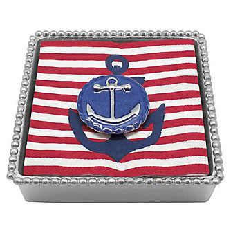 Mariposa Blue Anchor Emblem Twist Napkin Box