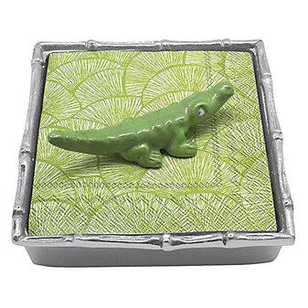 Mariposa Green Alligator Bamboo Napkin Box