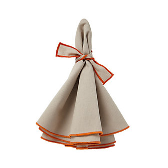 mode living napa beige napkins with orange hem, set of 4