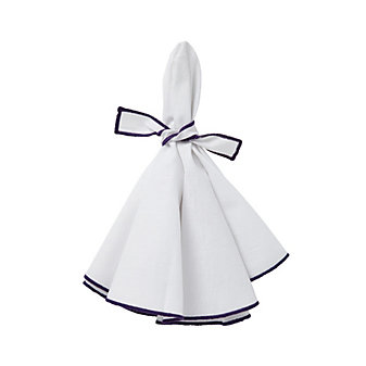 mode living napa white napkins with purple hem, set of 4