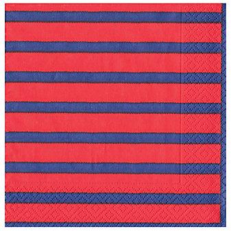 caspari bretagne red & blue paper luncheon napkins