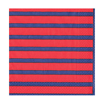 caspari bretagne red & blue paper cocktail napkins