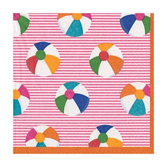 caspari bounce pink paper cocktail napkins