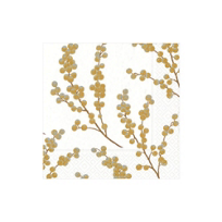 Caspari_Berry_Branches_Paper_Cocktail_Napkins,_White_&_Gold