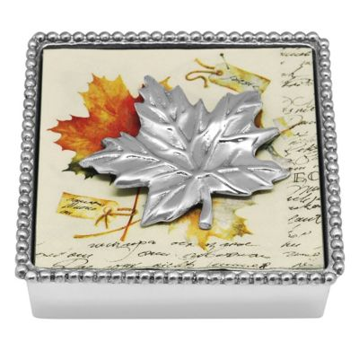 mariposa soft silver maple beaded napkin box