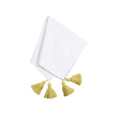 coton colors white overlap tassel napkin