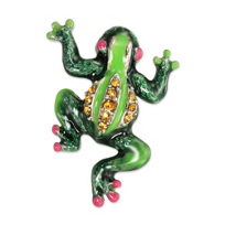 "Jay_Strongwater_Leaf_Peter_Frog_Tack_Pin,_.75""_wide,_1""_tall"