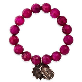 Miracle Icons Fuschia Agate Bracelet