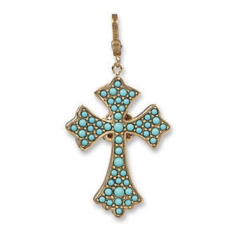 Jay Strongwater Turquoise Maria Cross Pendant