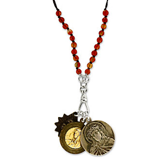 Miracle Icons Faceted Carnelian Rosary Necklace