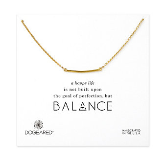 Dogeared Medium Square Bar Necklace, Gold Dipped