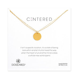 Dogeared Large Circle Double Chain Necklace, Gold Dipped