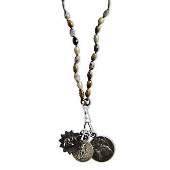 Miracle Icons Rice Silver Leaf Jasper Rosary Necklace