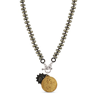 Miracle Icons Pyrite Toggle Necklace