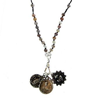 Miracle Icons Botswana Agate Rosary Necklace