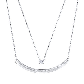 Swarovski Double Chain Fresh Bar Necklace