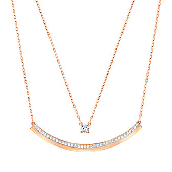 Swarovski Rose Gold-Plated Double Chain Fresh Bar Necklace