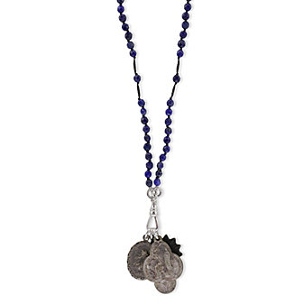 Miracle Icons Faceted Lapis Rosary Necklace
