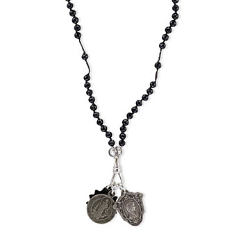 Miracle Icons Black Spinel Rosary Necklace
