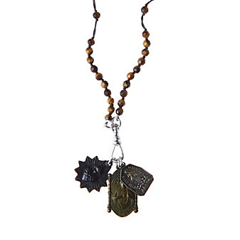 Miracle Icons Tiger Eye Rosary Necklace