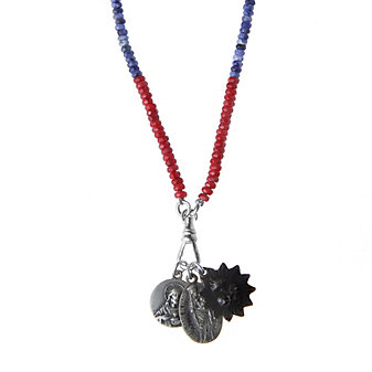 Miracle Icons Faceted Coral and Sodalite Necklace