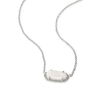 Kendra Scott Elisa Rhodium Iridescent Drusy Necklace
