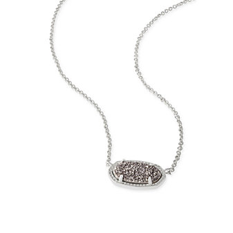 Kendra Scott Elisa Rhodium and Platinum Drusy Necklace