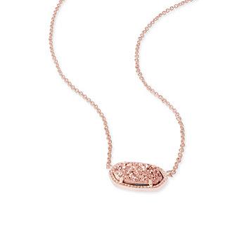 Kendra Scott Elisa Rose Gold Drusy Necklace