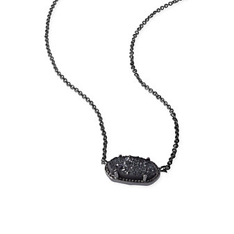 Kendra Scott Elisa Gunmetal Black Drusy Necklace