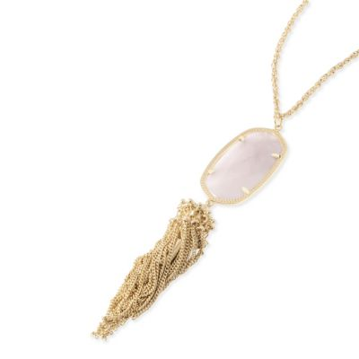 Kendra Scott Rayne Gold and Rose Quartz Necklace