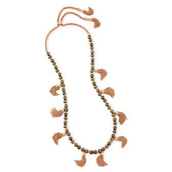 kendra scott vanina long necklace in pyrite