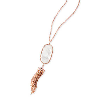 kendra scott rayne rose gold necklace in ivory pearl