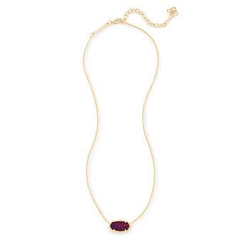 "kendra scott elisa plum drusy yellow tone necklace, 15"""