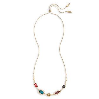 "kendra scott june multi color gem brass necklace, 28"""